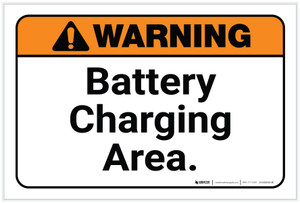 Warning: Battery Charging Area Landscape  - Label