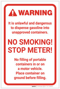 Warning: No Smoking Stop Meter Portrait  - Label