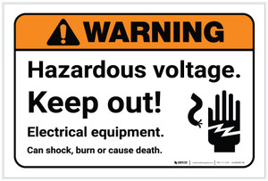 Warning: Hazardous Voltage Keep Out with Icon Landscape - Label