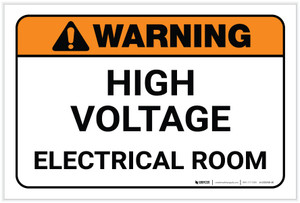 Warning: High Voltage Electrical Room Landscape - Label
