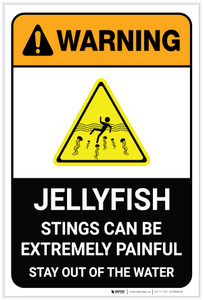 Warning: Jellyfish Stings Can Be Painful Stay Out Of Water with Icon Portrait - Label