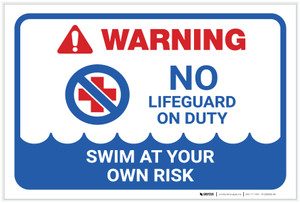 Warning: No Lifeguard on Duty with Icon Landscape - Label
