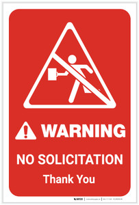 Warning: No Solicitation Thank You with Icon Portrait - Label