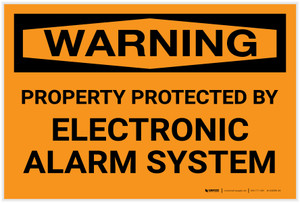 Warning: Property Protected By Electronic Alarm System Landscape - Label