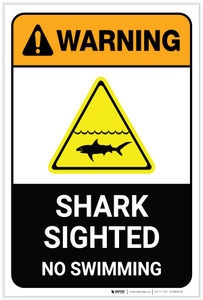 Warning: Shark Sighted No Swimming with Icon Portrait - Label