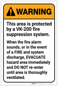 Warning: VK 200 Fire Supression System Portrait - Label