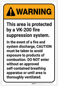 Warning: VK-200 Fire Supression System Avoid Exposure Portrait - Label