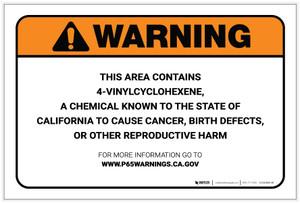 Warning: Prop 65 4-Vinylcyclohexene - Label