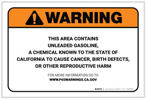 Warning: Prop 65 Unleaded Gasoline - Label