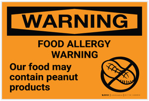 Warning: Food Allergy Warning - Food May Contain Peanut Products Landscape - Label