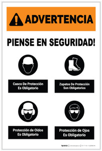 Warning: Think Safety PPE Must Be Worn Spanish Portrait - Label