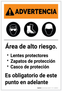 Warning: Hazardous Area PPE Required Spanish Portrait - Label