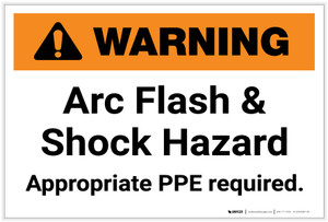 Warning: Arc Flash & Shock Hazard/PPE Required - Label