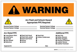 Warning: Arch Flash & Shock Hazard Appropriate PPE Required Landscape - Label