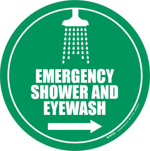 Emergency Shower and Eyewash Floor Sign: Right Arrow