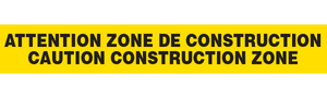 ATTENTION ZONE de CONSTRUCTION  - Barricade Tape (Case of 12 Rolls)