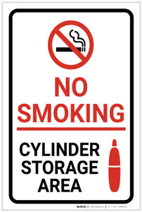 No Smoking Cylinder Storage Area with Icons Portrait - Label