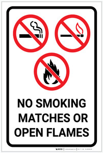 No Smoking Matches Or Open Flames with Icons Portrait - Label