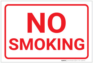 No Smoking White Landscape - Label
