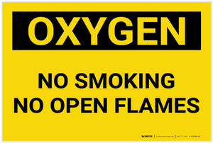 Oxygen No Smoking No Open Flames Landscape - Label