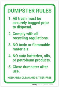 Dumpster Rules Guidelines Portrait - Label