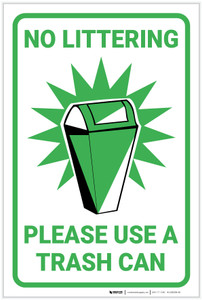 No Littering Please Use Trash Can with Icon Portrait - Label