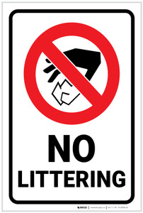 No Littering with Icon Portrait - Label