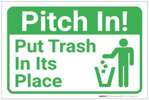 Pitch In Put Trash In Its Place with Icon Landscape - Label