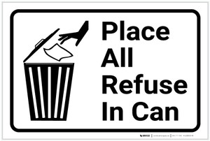 Place All Refuse In Can with Icon Landscape - Label