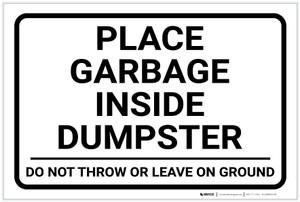 Place Garbage Inside Dumpster Landscape - Label