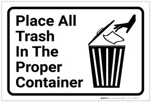 Place Trash In Proper Container with Icon Landscape - Label