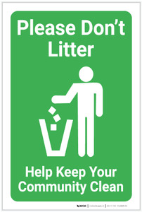 Please Dont Litter Help Keep Your Community Clean with Icon Portrait - Label