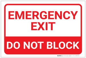 Emergency Exit Do Not Block Landscape - Label