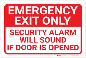 Emergency Exit Only Security Alarm Will Sound Landscape - Label