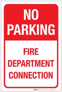 No Parking Fire Department Connection Portrait - Label