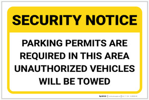 Security Notice: Parking Permits Are Required in This Area Landscape - Label