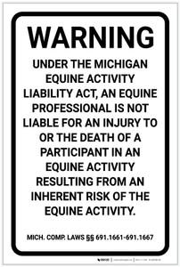 Michigan Equine Liability MI - Label