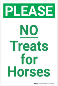 Please: No Treats for Horses - Label