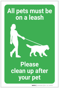 All Pets Must Be On A Leash with Icon Portrait - Label
