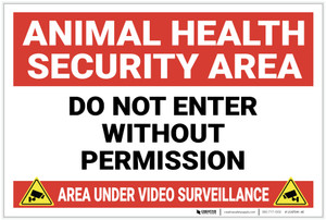 Animal Health Security Area with Icons Landscape - Label