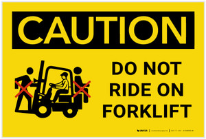 Caution: Do Not Ride On Forklift - Label