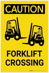 Caution: Forklift Crossing Vertical with Graphic - Label