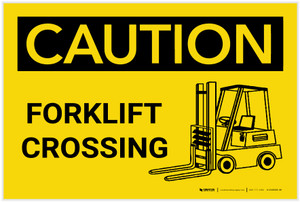 Caution: Forklift Crossing with Icon - Label
