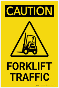 Caution: Forklift Traffic Vertical with Graphic - Label