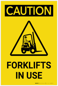 Caution: Forklifts In Use Vertical with Graphic - Label