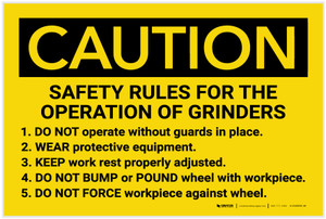 Caution: Safety Rules For The Operation Of Grinders - Label