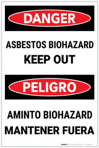 Danger: Asbestos Biohazard Keep Out Bilingual - Label
