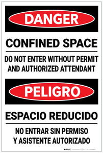 Danger: Confined Space Do Not Enter Without Permit Bilingual - Label