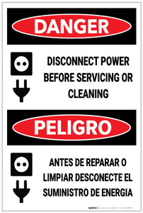 Danger: Disconnect Power Before Servicing Bilingual - Label