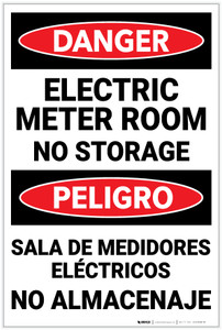 Danger: Electric Meter Room No Storage Bilingual - Label